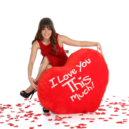 Enormous Red Heart 'I Love You This Much!' Valentine's Day Pillow from Giant Teddy