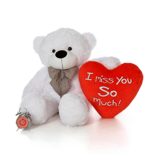 48in Big Life Size Valentine's Day Teddy Bear White Coco Cuddles with beautiful 'I Miss You So Much' red heart pillow