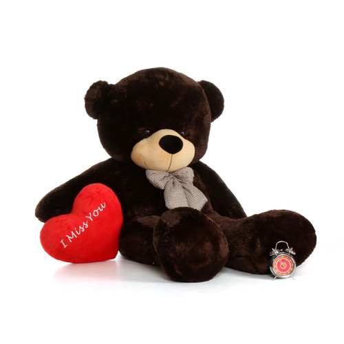 6ft Chocolate Brownie Cuddles by Giant Teddy with an I Miss You heart pillow