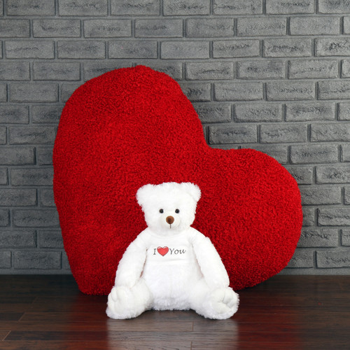 Teddy Bear and Giant Red Heart Gift Set: Adorable 2ft Big white Scruffs Tubs in an 'I love you' shirt, and giant red Heart Body Pillow