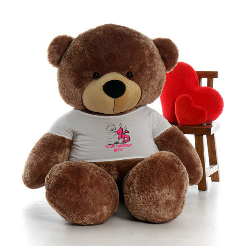 6ft Life Size Make a Wish Personalized Happy Birthday Teddy Bear – choose your favorite fur color