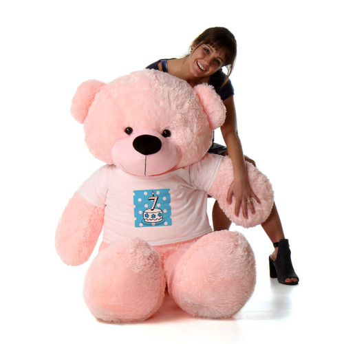 5ft Life Size Birthday Teddy Bear in Blue Candle Cake Age Shirt – choose your favorite fur color & candle age