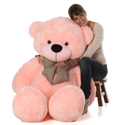 Lady Cuddles Soft and Huggable Plush Pink Teddy Bear 60in - Huge Teddy Bear