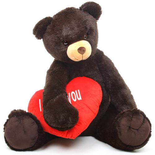 Baby Heart Tubs I LOVE YOU Heart Chocolate Brown Teddy Bear 42in