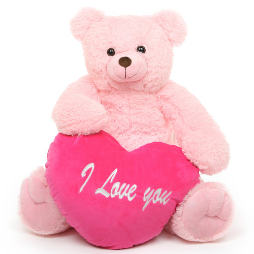 Darling Heart Tubs I LOVE YOU Heart Pink Teddy Bear 32in