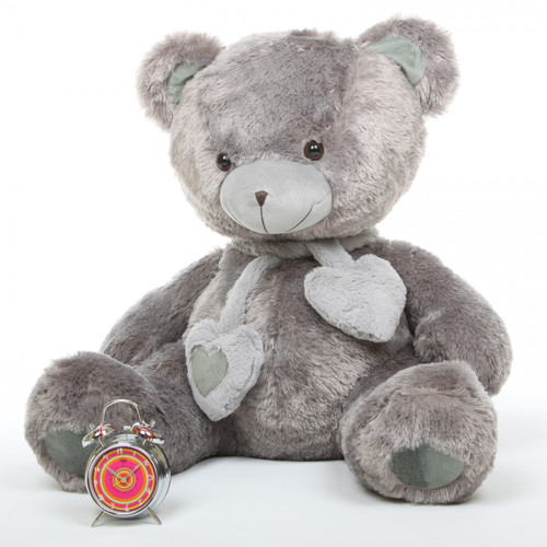 Angel Hugs Plush Silver Grey Heart Teddy Bear 36in