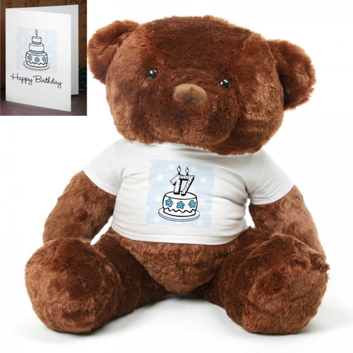 Blue Birthday Cake Chubs Extra Large Plush Teddy Bear 48in
