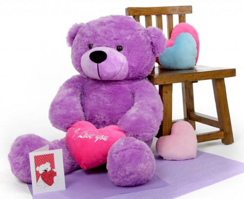 Deedee cuddles-Purple teddy bear with I love you heart- 38 in