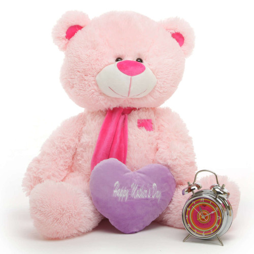 LuLu M Shags Pink Teddy Bear with Happy Mothers Day Heart 35in