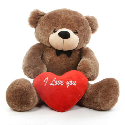 Sunny L Cuddles Mocha Teddy Bear with I Love You Heart 48in