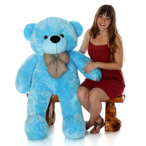 Happy Cuddles Soft and Huggable Light Blue Teddy Bear 46in