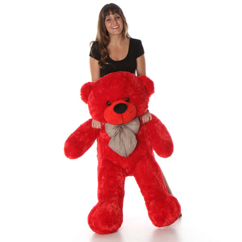Bitsy Cuddles Soft and Huggable Bright Red Teddy Bear 46in