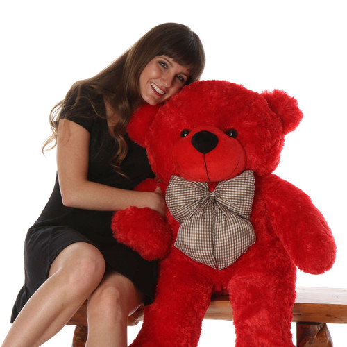 Bitsy Cuddles Soft and Huggable Bright Red Teddy Bear 38in