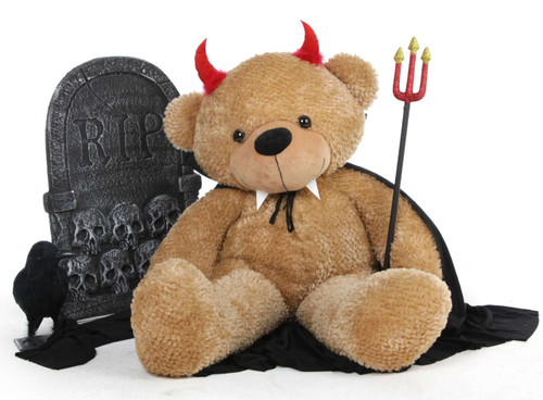 Shaggy Cuddles Halloween Teddy Bear with Devil Horns and Pitchfork 38in