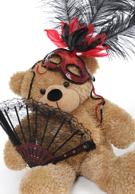 Shaggy Cuddles Halloween Teddy Bear with Red and Black Feather Mask 24in