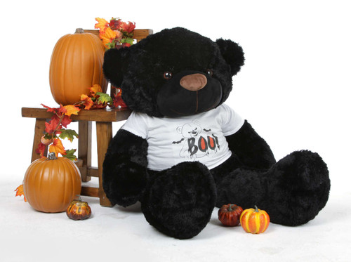 Juju Cuddles Giant Halloween Black Teddy Bear in a Spooky Boo! Bear T-shirt 38in