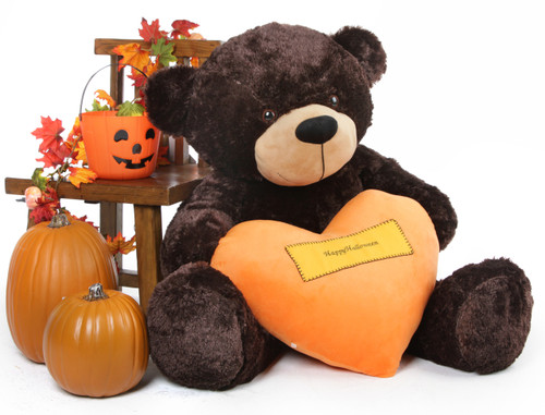 Brownie Cuddles Halloween Bear with Orange Happy Halloween Heart 48in