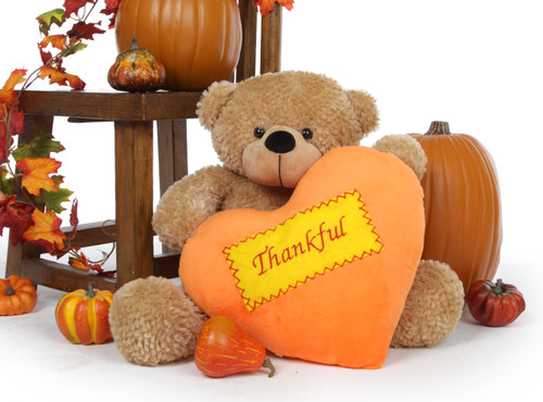 Shaggy Cuddles Amber Thanksgiving Bear with Plush Orange Heart 24in