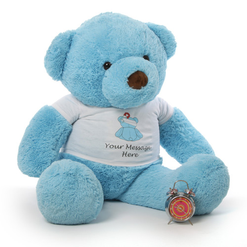 Adorable Personalized 'Feel Better' Bears from Giant Teddy in Pink, Blue & Vanilla 48in