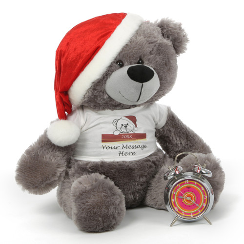 Diamond Shags Personalized Christmas Teddy Bear in Santa Hat, 27in