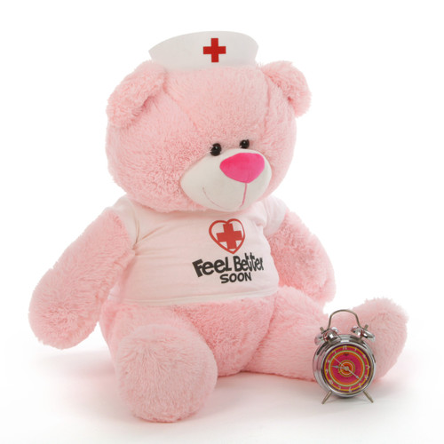 Feel Better Soon Giant Pink Teddy Bear 35in in Nurse's hat and custom t-shirt Lulu Shags gives cuddly feel-better hugs!