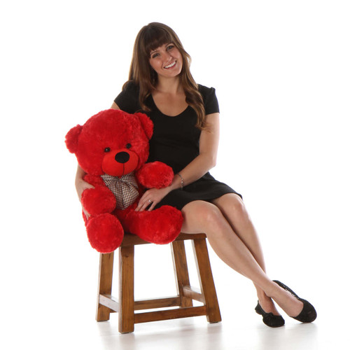 Bitsy Cuddles Plush and Huggable Red Teddy Bear 30in