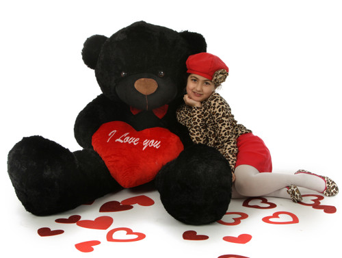 "5ft Juju Cuddles Black Valentine's Day Teddy Bear with Red ""I Love You"" heart - Huge Teddy Bear"