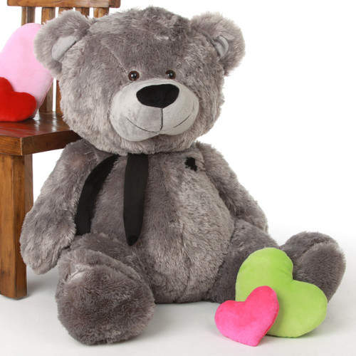 Diamond Shags Big Chubby and Adorable Rich Silver Teddy Bear 37in