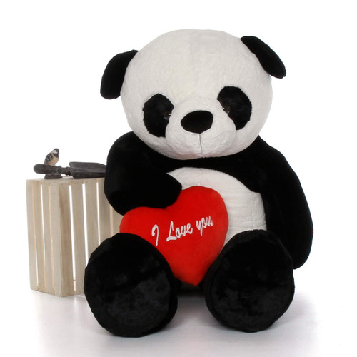 """72in Life Size Panda Bear Rocky Xiong w/red """"I Love You"""" heart"""