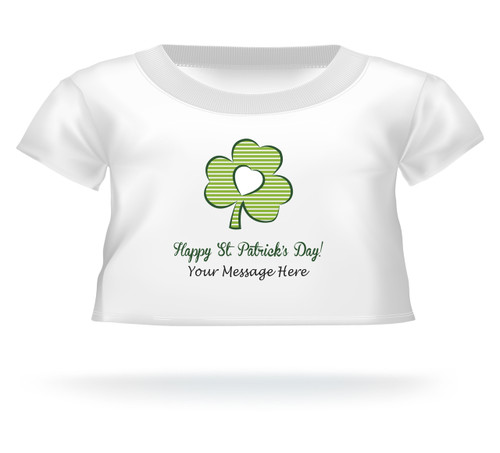 Happy St. Patrick's Day Green Striped Clover Teddy Bear T-Shirt