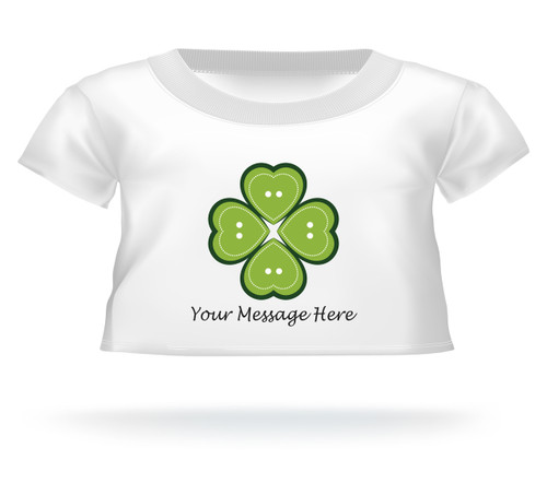 Heart button 4 Leaf Clover Giant Teddy Bear T-Shirt