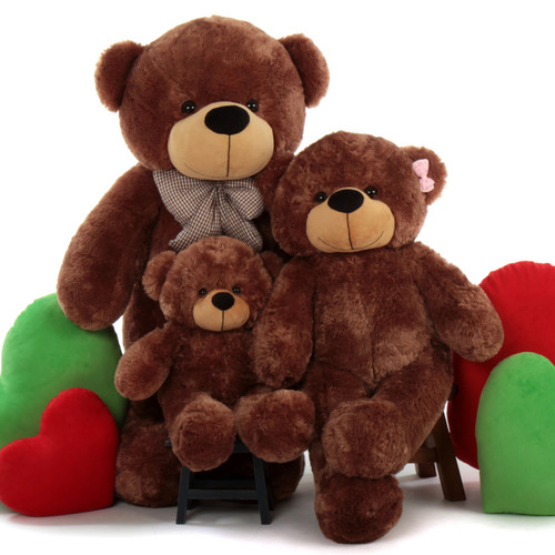 Giant Teddy 3 Bears Family Sunny Cuddles mocha fur 48in, 38in, 24in sizes