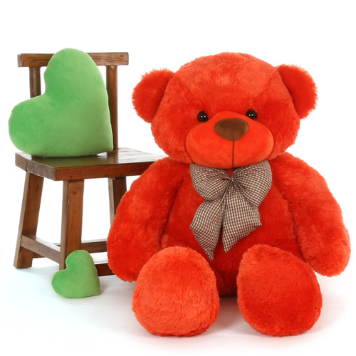4ft Life Size Teddy Bear Beautiful Orange Red Unique Lovey Cuddles