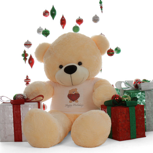 Happy Holidays 6ft Life Size Vanilla Cream Teddy Bear Cozy Cuddles