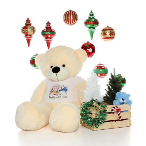 5ft Cozy Cuddles Happy New Year Vanilla Cream Giant Teddy Bear