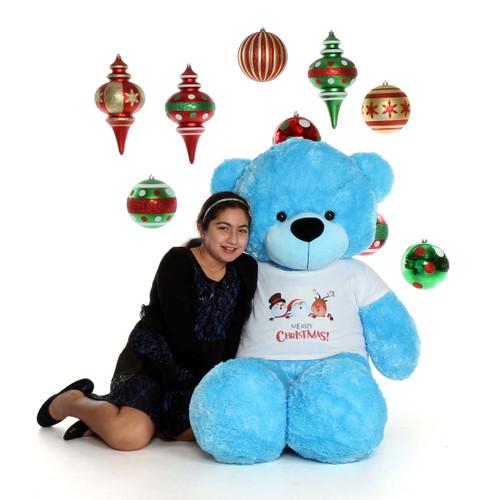 5ft Life Size Blue Merry Christmas Teddy Bear Happy Cuddles
