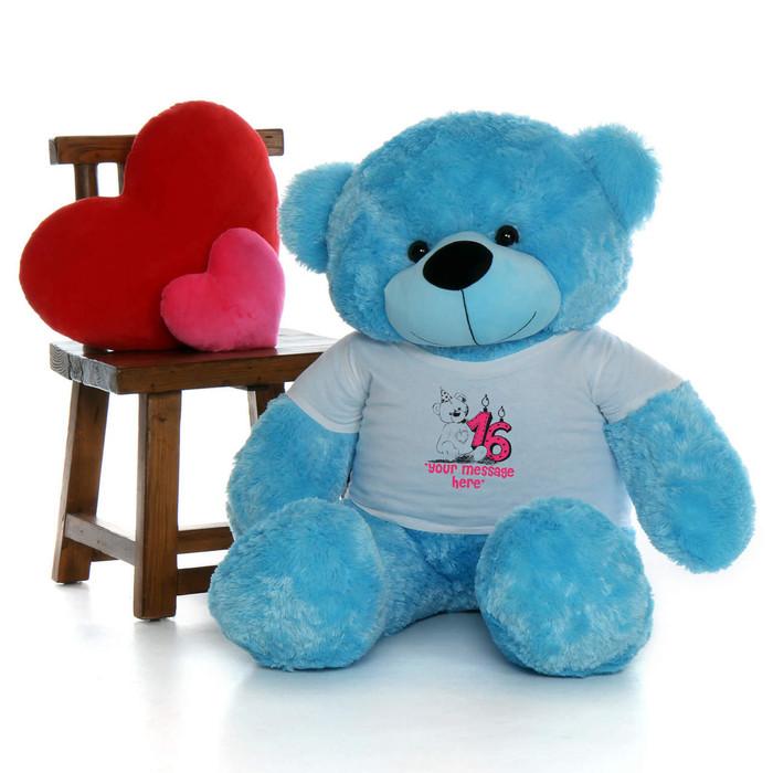 48in Blue Happy Cuddles Make a Wish Personalized Birthday Teddy Bear
