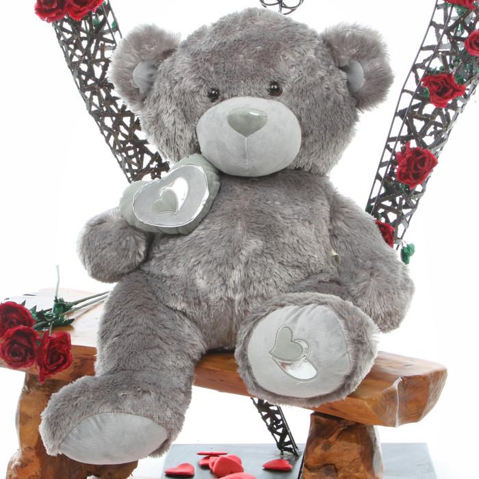 Snuggle Pie Big Love silver teddy bear 30in