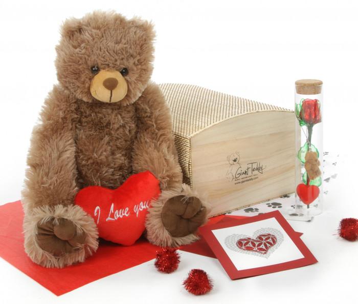 Heart Conqueror Bear Hug Care Package Sweetie Heart Tubs mocha brown teddy bear 18in