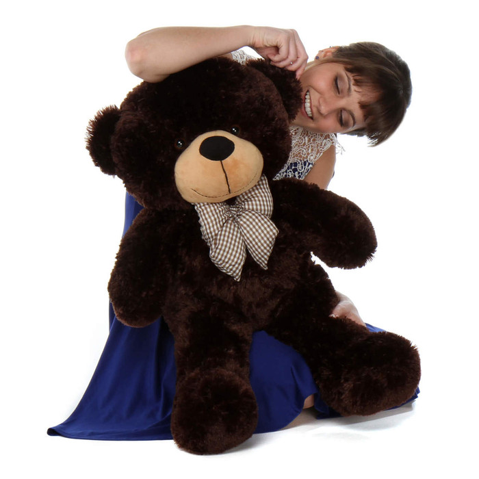 30in Oversized Teddy Bear Brownie Cuddles Chocolate Brown Fur