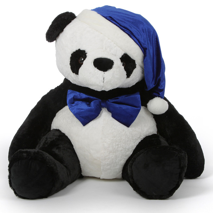 Papa Xin Giant Stuffed Panda Bear in Blue Santa Hat and Bow Tie 42in