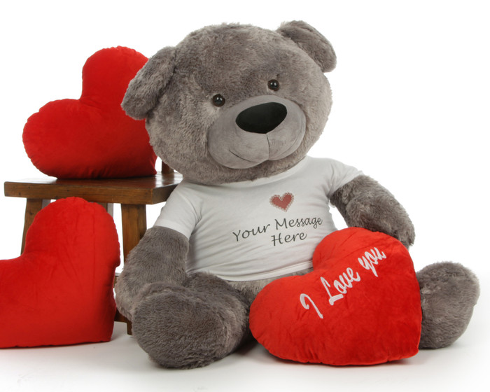Diamond Shags Personalized Valentine's Day Teddy Bear with 'I Love You' Heart Pillow - 45in