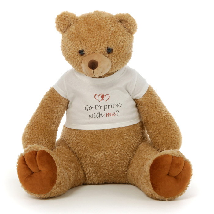 2½ ft Honey Tubs adorable amber brown Prom Teddy Bear (Go to prom with me?)