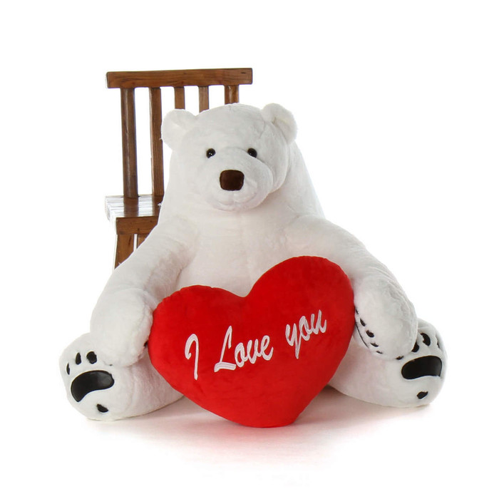 35in Huge Valentine's gift Soft Huggable Polar Bear Marshmallow Frost with red heart pillow