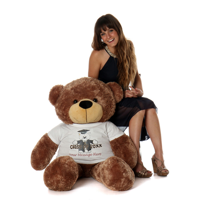 4ft Sunny Cuddles Graduation Teddy Bear Mocha Brown Class of 20XX