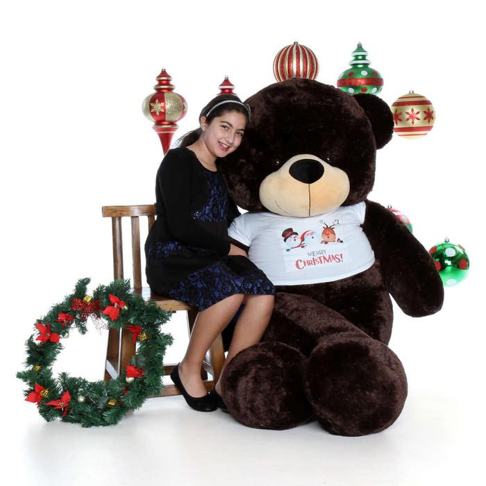 6ft Brownie Cuddles Brown Teddy Bear in Merry Christmas Shirt