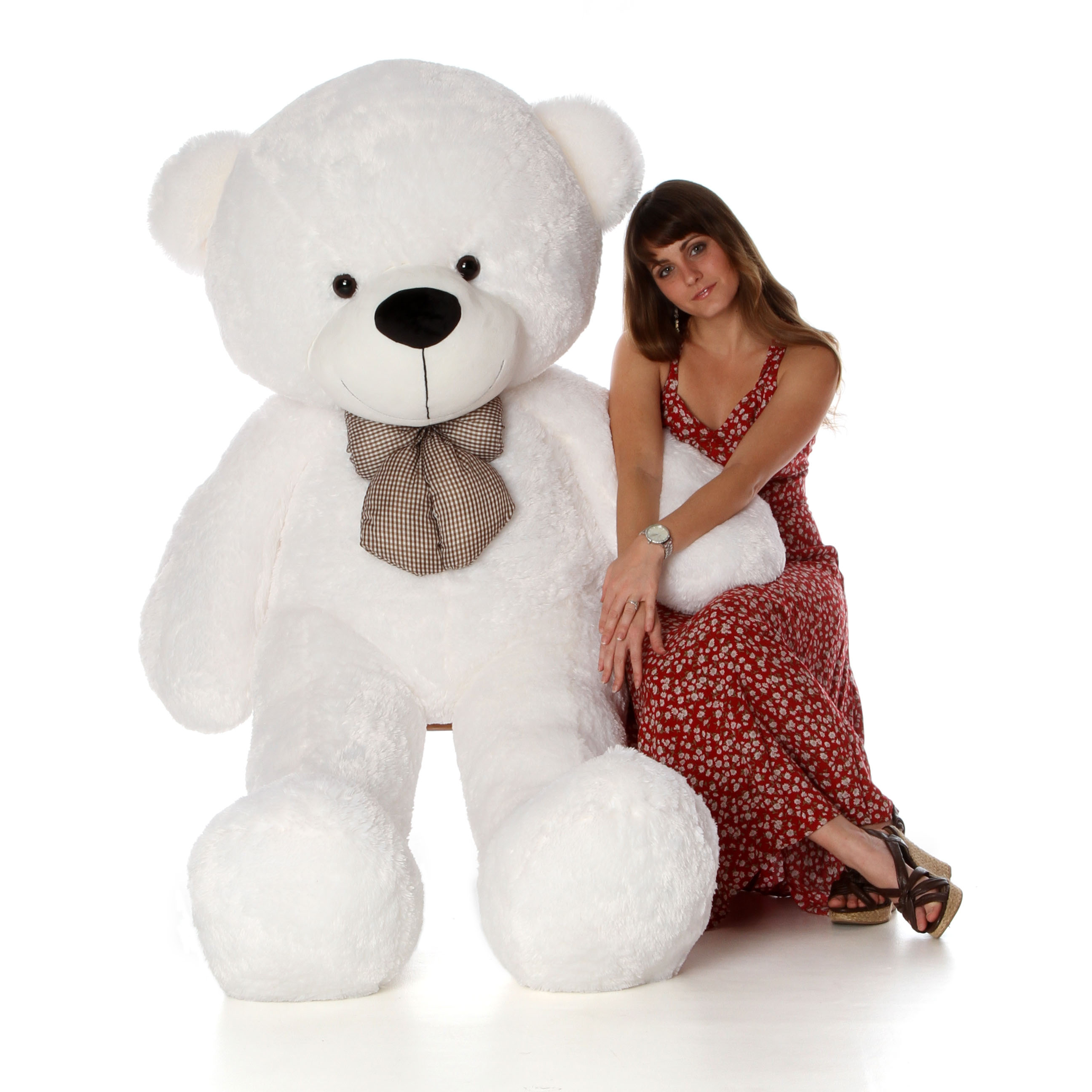72in Giant Life Size White Teddy Bear With Hug Me Red
