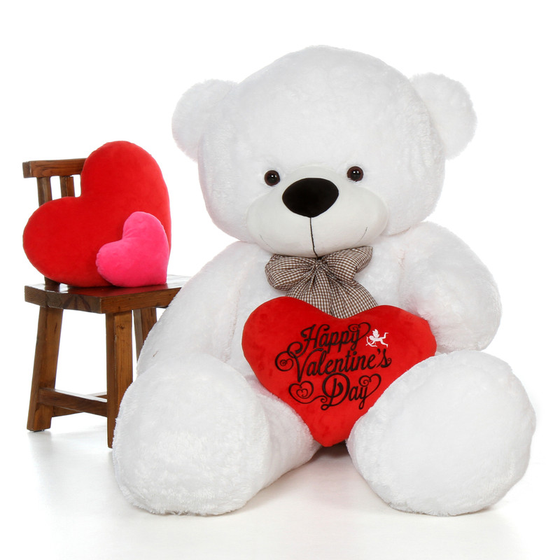 72in Coco Cuddles White Giant Teddy Bear with Happy Valentine's Day Heart Pillow