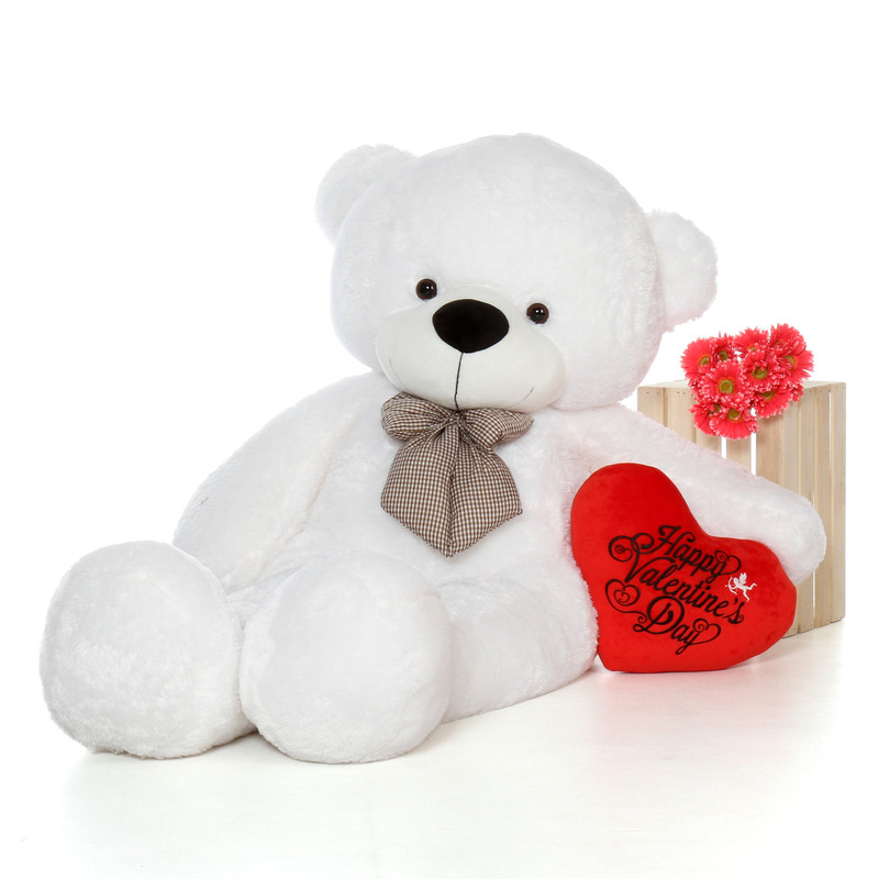 6ft White Giant Teddy Bear with a Happy Valentine's Day Red Plush Heart