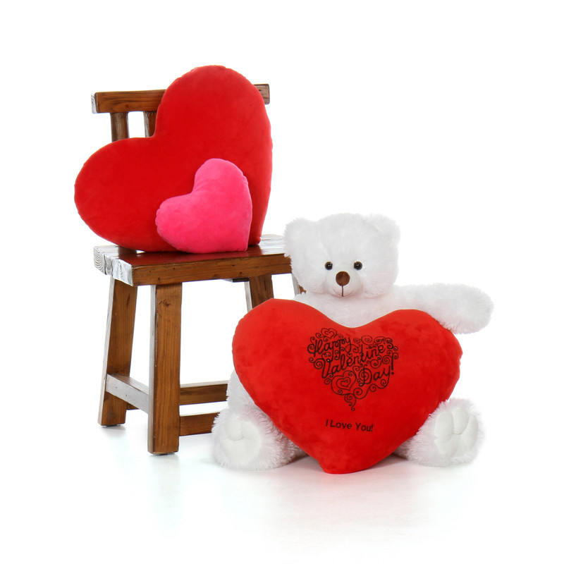 2ft Scruffs Tubs White Teddy Bear with a Red Heart Pillow